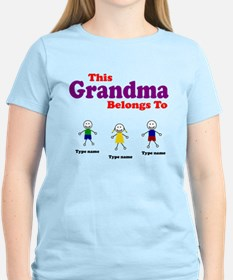 Personalized Grandma 3 kids T-Shirt