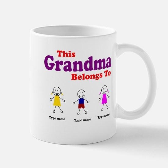 Personalized Grandma 3 kids Mug