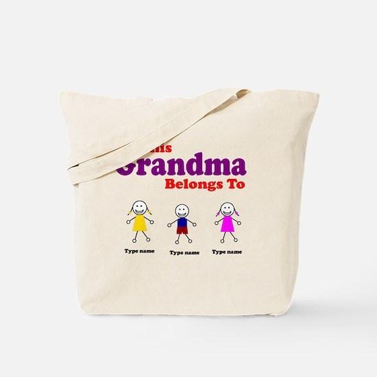 Personalized Grandma 3 kids Tote Bag