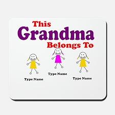 Personalized Grandma 3 girls Mousepad