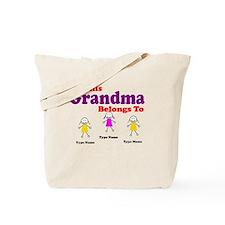 Personalized Grandma 3 girls Tote Bag