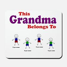 Personalized Grandma 4 boys Mousepad