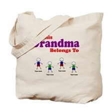 Personalized Grandma 4 boys Tote Bag