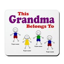 Personalized Grandma 4 kids Mousepad