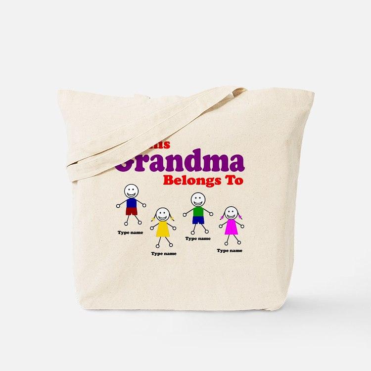 Personalized Grandma 4 kids Tote Bag