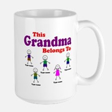 Personalized Grandma 5 kids Large Mug
