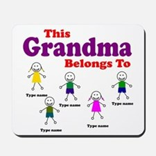 Personalized Grandma 5 kids Mousepad