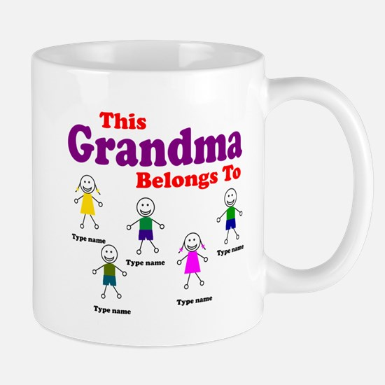 Personalized Grandma 5 kids Mug