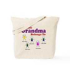 Personalized Grandma 5 kids Tote Bag