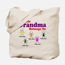 Personalized Grandma 5 kids Tote Bag
