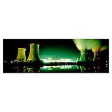 Power station illuminated at night, Three Mile Isl Poster