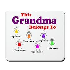 Personalized Grandma 6 girls Mousepad