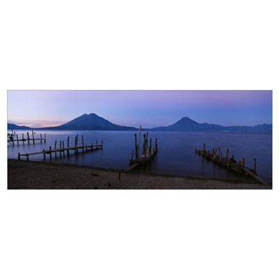 Piers over a lake, Guatemala Canvas Art
