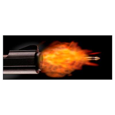 Close-up of a gun firing a bullet Poster