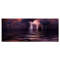 Lightning over the sea Framed Print