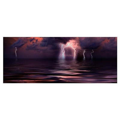 Lightning over the sea Poster