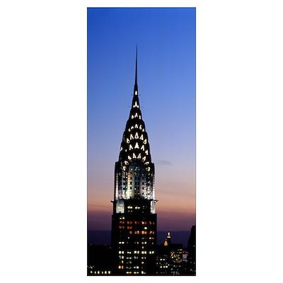 Building lit up at twilight, Chrysler Building, Ma Poster