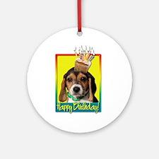 Birthday Cupcake - Beagle Pup Ornament (Round)