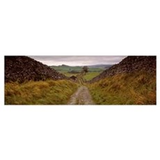 Long pathway on a landscape, Smearsett Scar, Yorks Poster