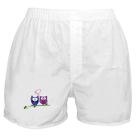 Cute Owls and swirly heart Boxer Shorts