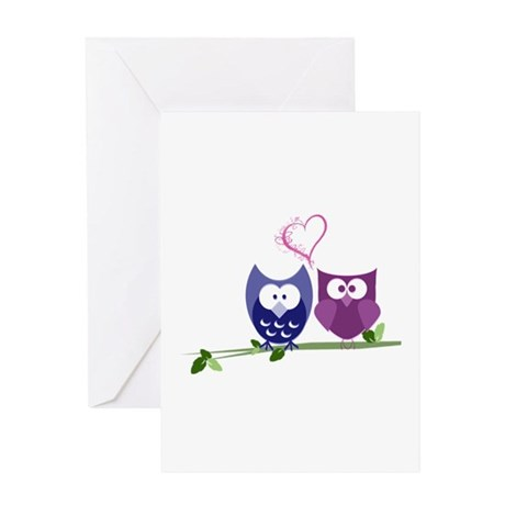 Cute Owls and swirly heart Greeting Card