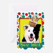 Invitation Cupcake - Border Collie Greeting Card