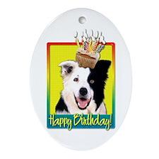 Birthday Cupcake - Bedlington Ornament (Oval)