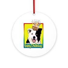 Birthday Cupcake - Border Collie Ornament (Round)