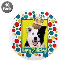 "Birthday Cupcake - Border Collie 3.5"" Button (10 p"
