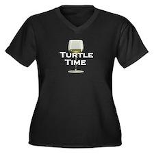 Turtle Time Women's Plus Size V-Neck Dark T-Shirt