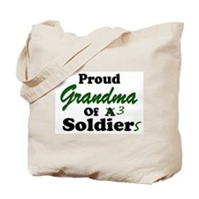 Proud Grandma 3 Soldiers Tote Bag