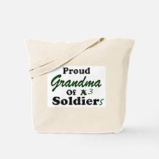 Proud Grandma 3 Soldiers Tote Bag