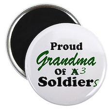 Proud Grandma 3 Soldiers Magnet