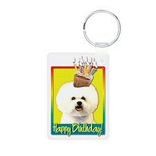 Birthday Cupcake - Bichon Aluminum Photo Keychain