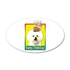 Birthday Cupcake - Bichon 22x14 Oval Wall Peel