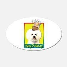 Birthday Cupcake - Bichon 22x14 Oval Wall Peel
