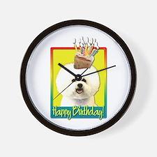 Birthday Cupcake - Bichon Wall Clock