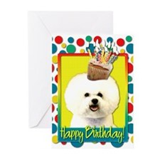 Birthday Cupcake - Bichon Greeting Cards (Pk of 10