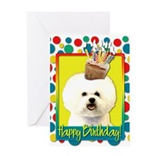 Birthday Cupcake - Bichon Greeting Card