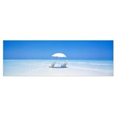 Beach Parasol and Chairs Maldives Poster