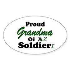 Proud Grandma 2 Soldiers Oval Decal
