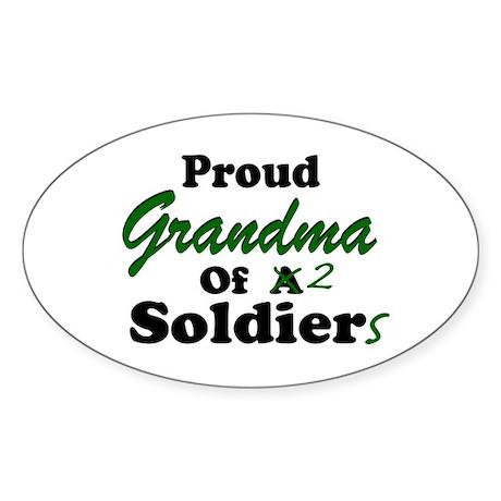 Proud Grandma 2 Soldiers Oval Sticker
