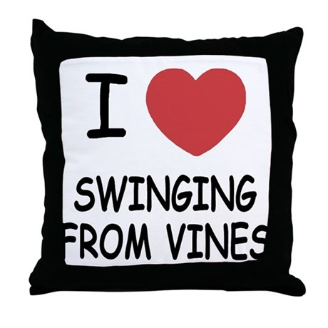 I heart swinging from vines Throw Pillow