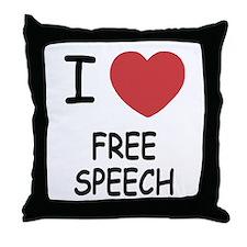 I heart free speech Throw Pillow