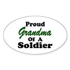 Proud Grandma of a Soldier Oval Decal