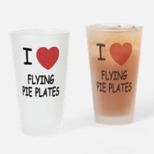 I heart flying pie plates Drinking Glass