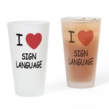 I heart sign language Drinking Glass