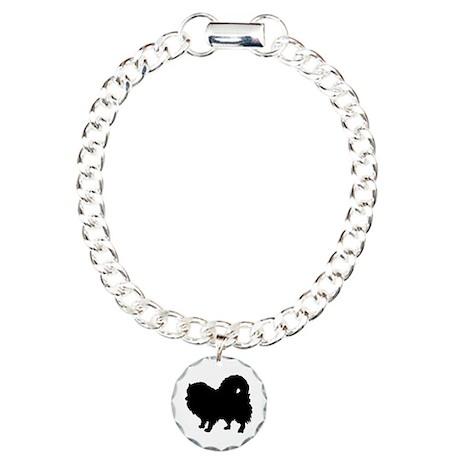 Pomeranian Silhouette Charm Bracelet, One Charm