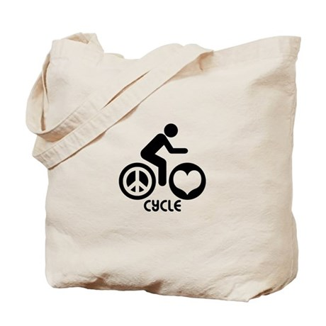 Peace Love Cycle Tote Bag