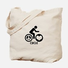 Peace Love Cycle Tote Bag